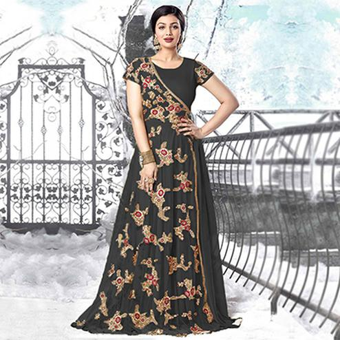 Black Heavy Net Embroidered Work Gown