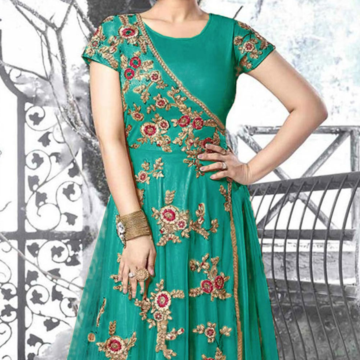 Green Heavy Net Embroidered Work Gown