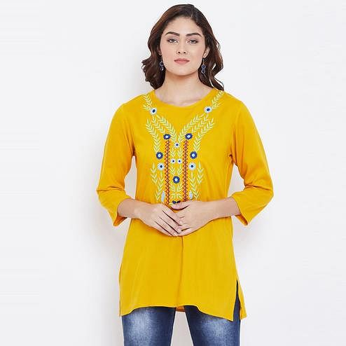 Sethi Daughters Women Mustard Color Floral Embroidered Rayon Tunic