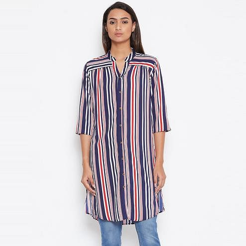 Sethi Daughters Women Navy Blue Shirt Style Stripe Printed Crepe Long Tunic