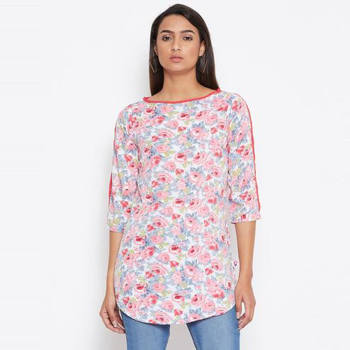 Sethi Daughters Women Pink Color Floral Printed Pink Piping Crepe Tunic