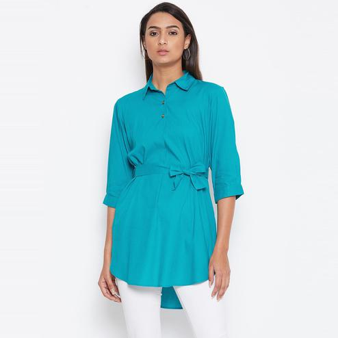Sethi Daughters Women Turquoise Blue Color Plain Rayon Shirt Style Tunic