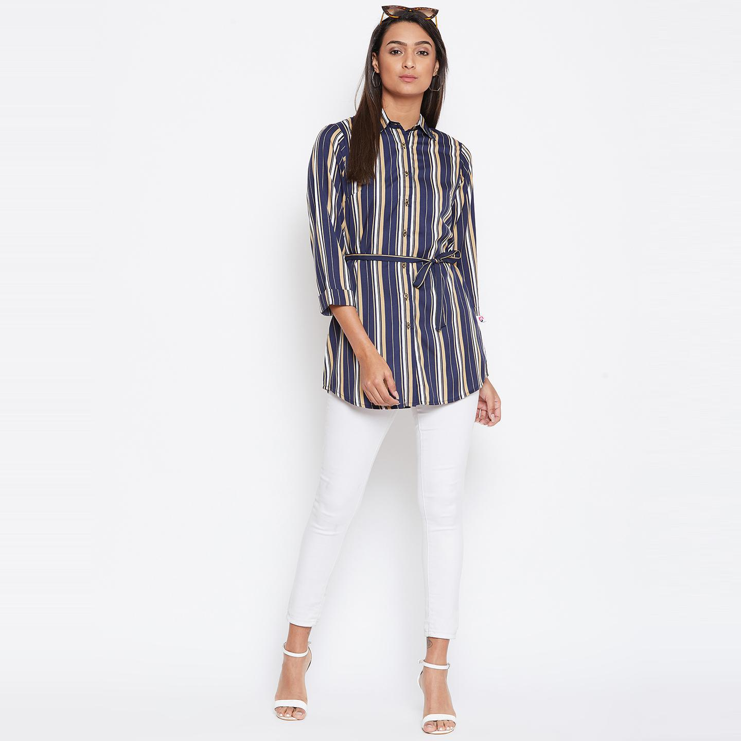 Sethi Daughters Women Navy Blue Color Stripe Printed waist tie up Shirt Style Tunic