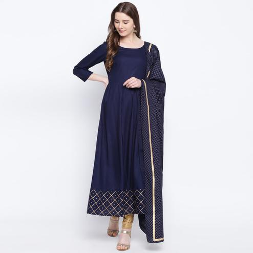Intricate Navy Blue Colored Party Wear Printed Ankle Length Rayon Kurti With Dupatta