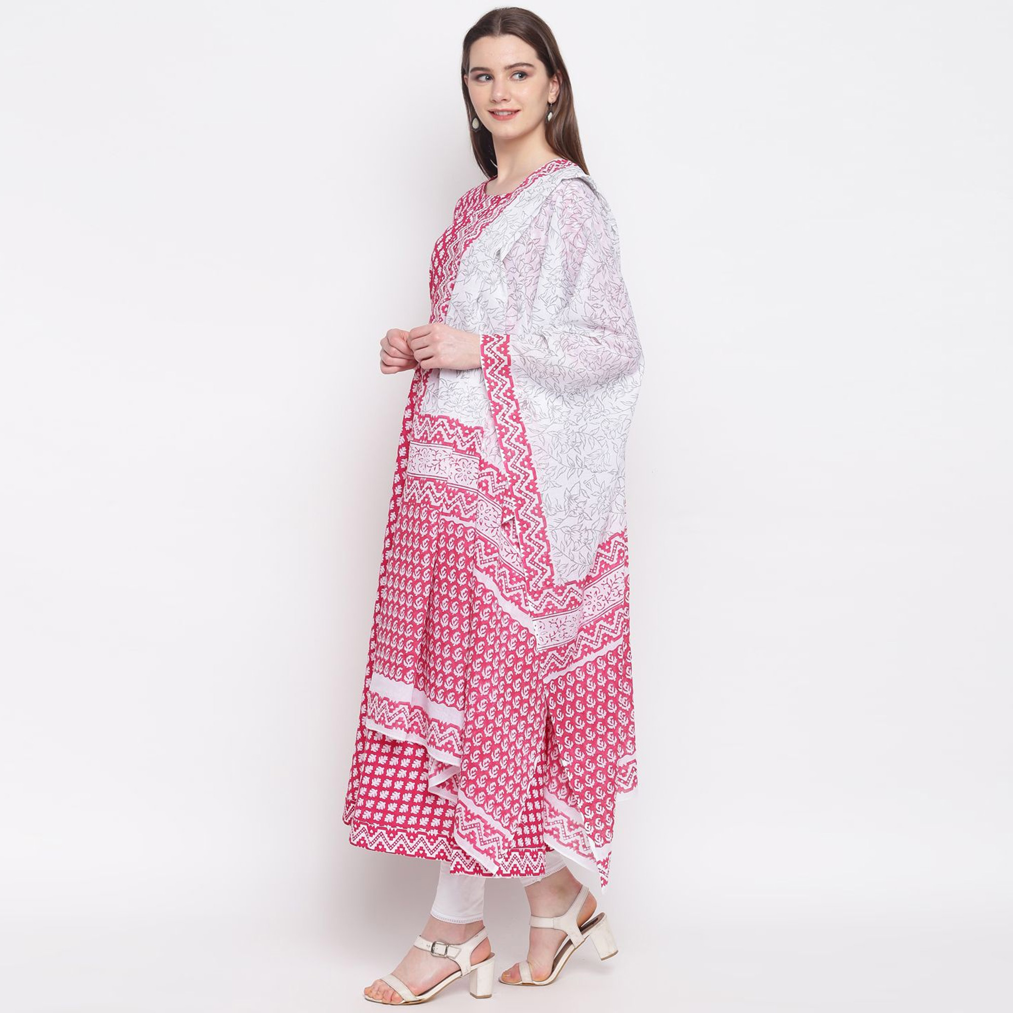 Arresting Pink-White Colored Party Wear Printed Ankle Length Cotton Kurti With Dupatta