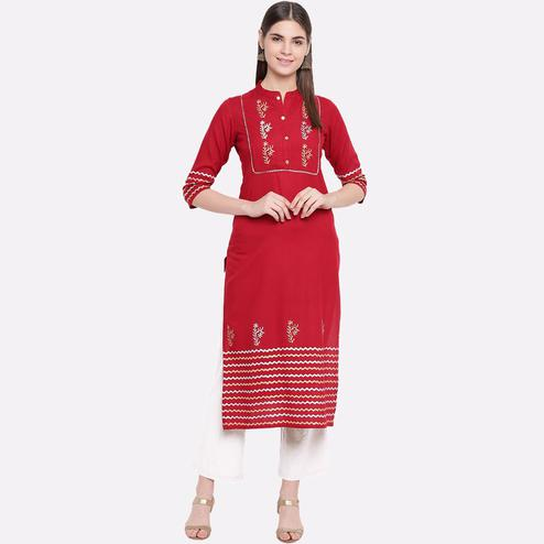 Desirable Red Colored Party Wear Printed Calf Length Cotton Kurti-Pant Set