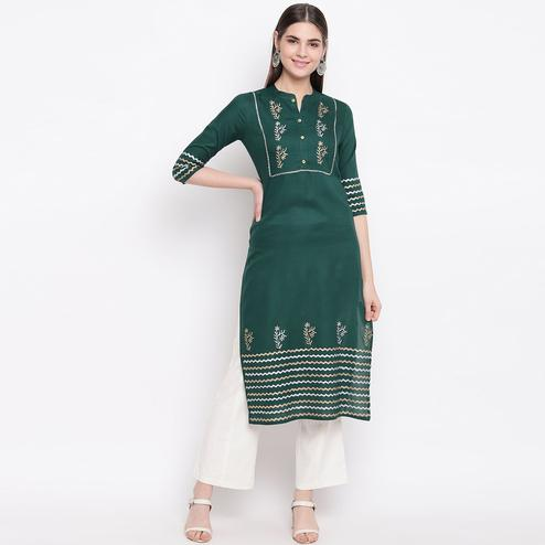 Exotic Bottle Green Colored Party Wear Printed Calf Length Cotton Kurti-Pant Set