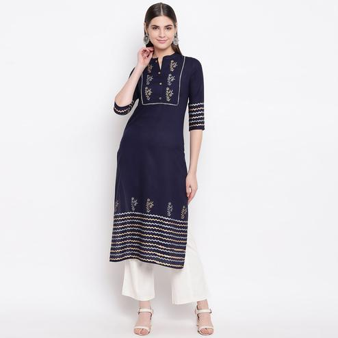 Trendy Navy Blue Colored Party Wear Printed Calf Length Cotton Kurti-Pant Set