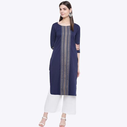 Elegant Navy Blue Colored Party Wear Geometric Printed Calf Length Cotton Blend Kurti-Palazzo Set