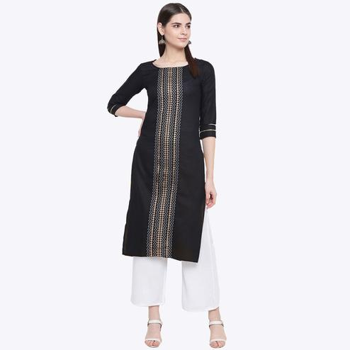 Pleasant Black Colored Party Wear Geometric Printed Calf Length Cotton Blend Kurti-Palazzo Set