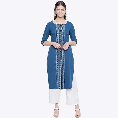Opulent Teal Blue Colored Party Wear Geometric Printed Calf Length Cotton Blend Kurti-Palazzo Set