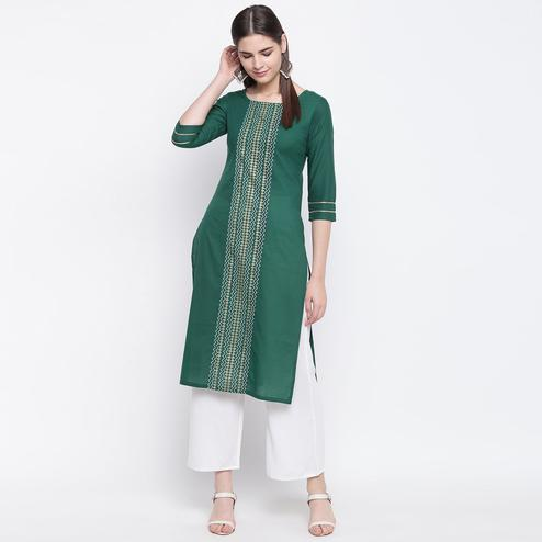 Energetic Bottle Green Colored Party Wear Geometric Printed Calf Length Cotton Blend Kurti-Palazzo Set