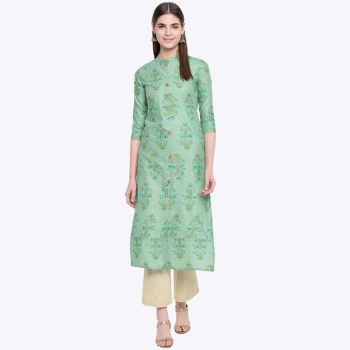 Glowing Green Colored Party Wear Floral Print Calf Length Cotton Blend Kurti-Pant Set