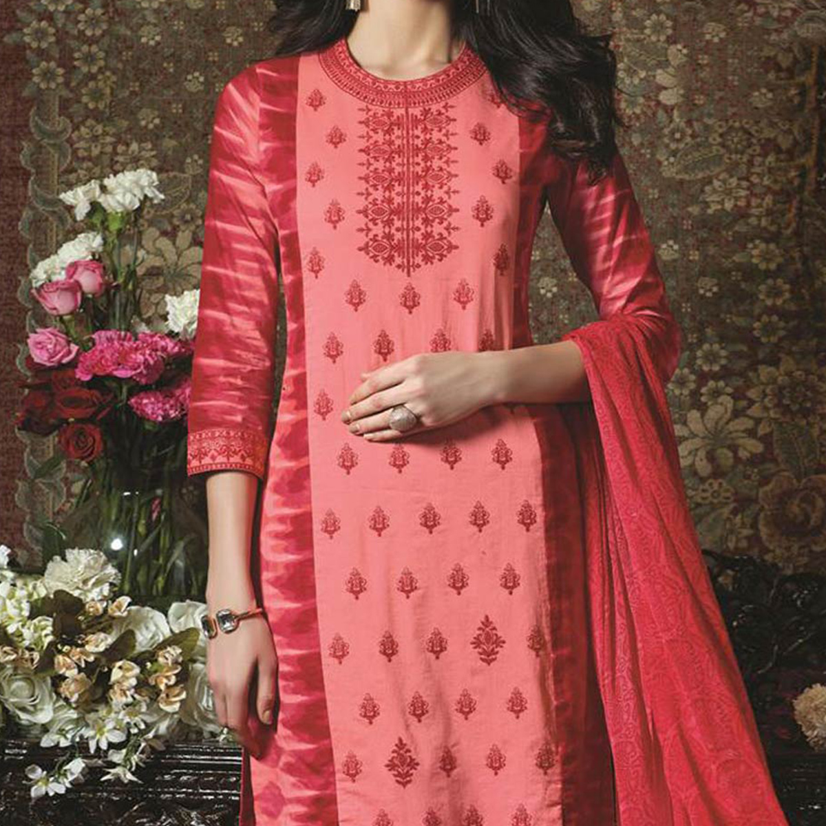 Red Pure Cotton Unstitched Salwar Suit
