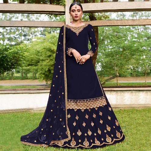 Elegant Navy Blue Colored Party Wear Emroidered Faux Georgette Lehenga Kameez