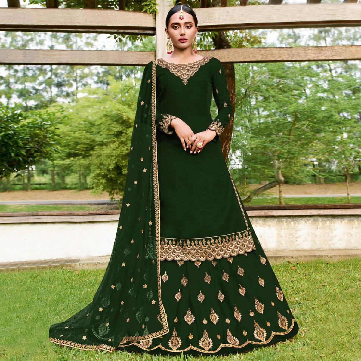 Intricate Green Colored Party Wear Emroidered Faux Georgette Lehenga Kameez