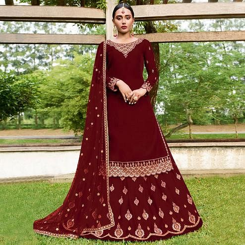 Desirable Maroon Colored Party Wear Emroidered Faux Georgette Lehenga Kameez