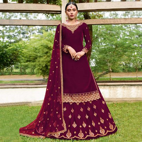 Exotic Purple Colored Party Wear Emroidered Faux Georgette Lehenga Kameez