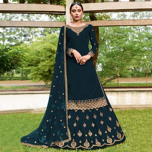 Attractive Dark Teal Blue Colored Party Wear Emroidered Faux Georgette Lehenga Kameez