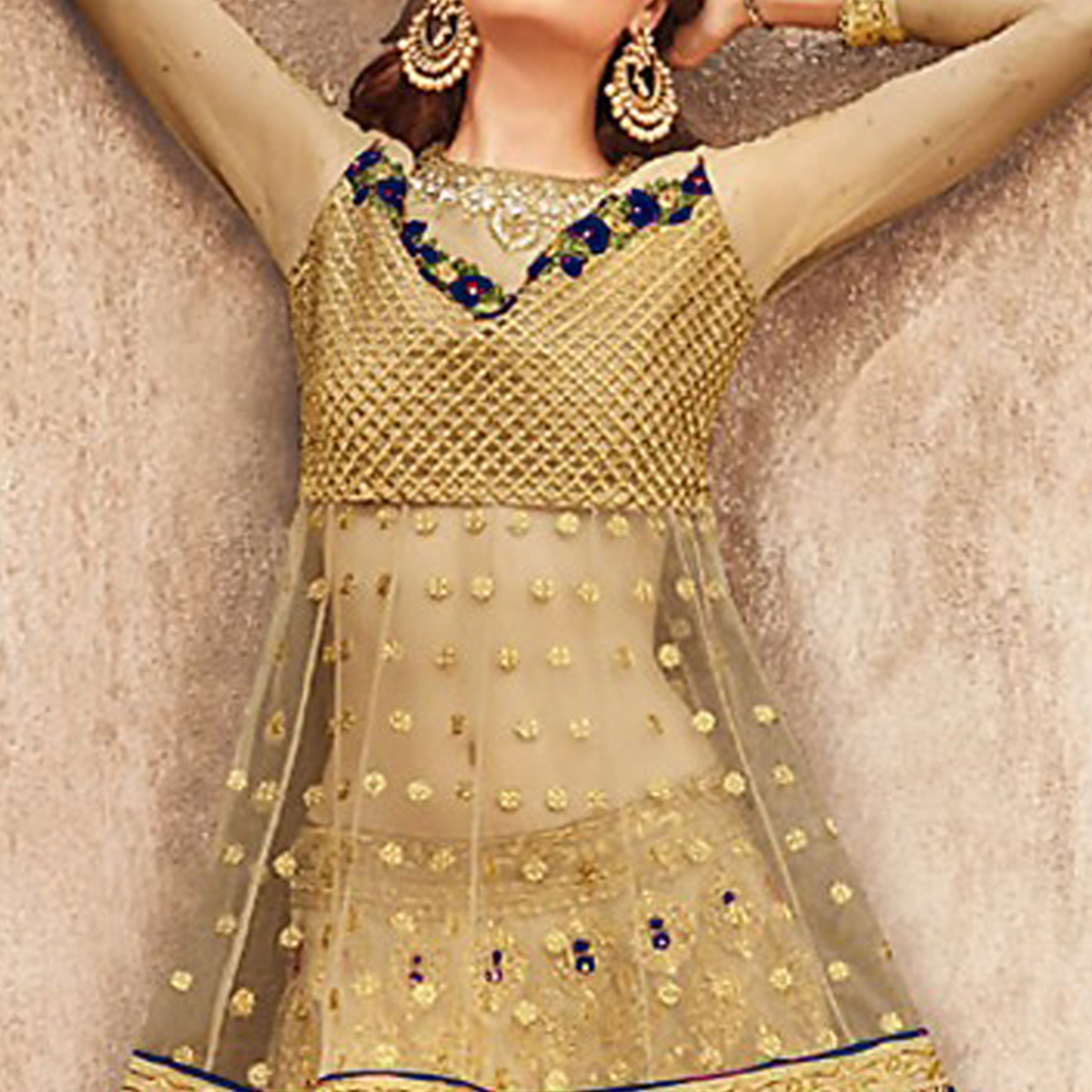 Trendy Golden-Navy Blue Colored Party Wear Embroidered Net Lehenga Choli