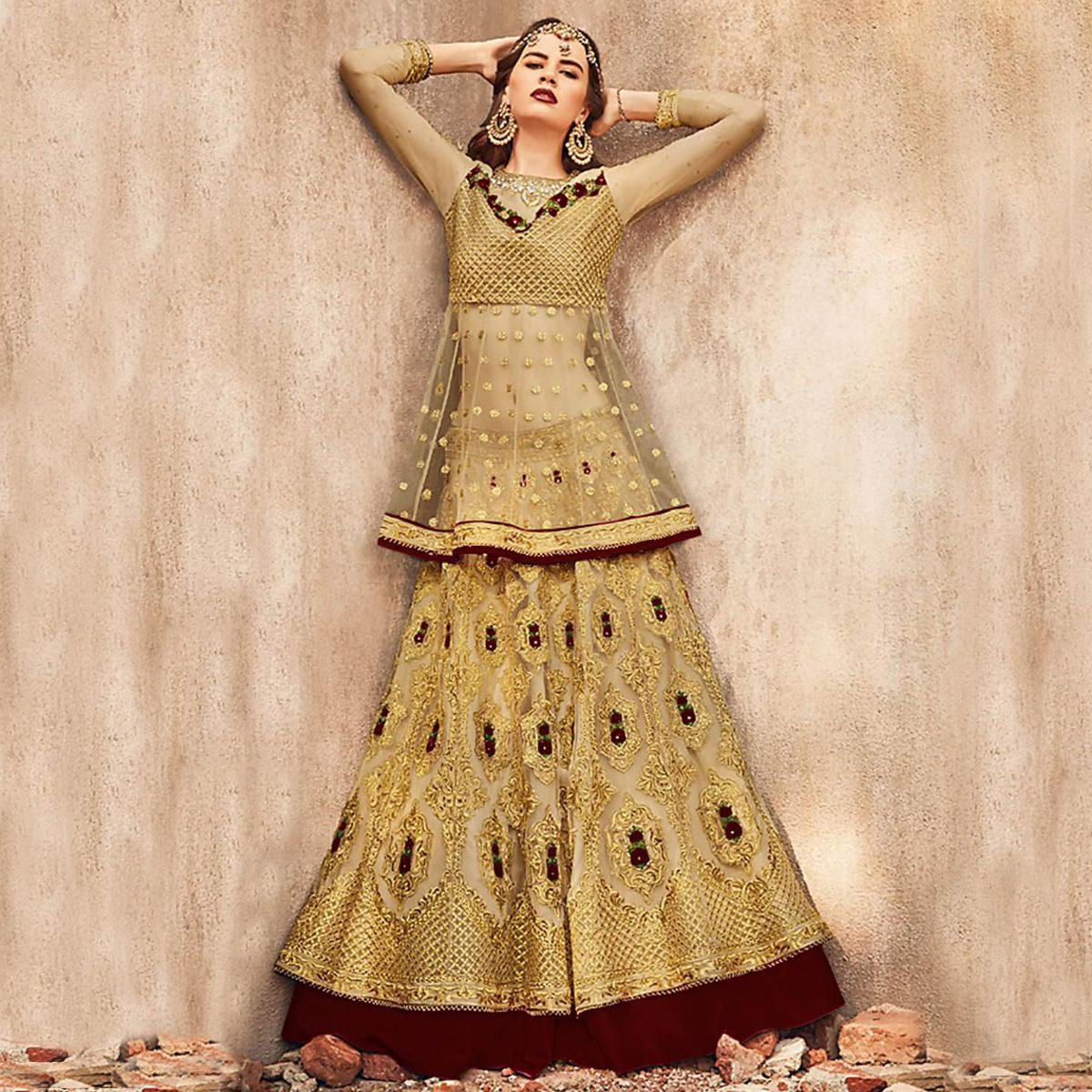 Elegant Golden-Brown Colored Party Wear Embroidered Net Lehenga Choli