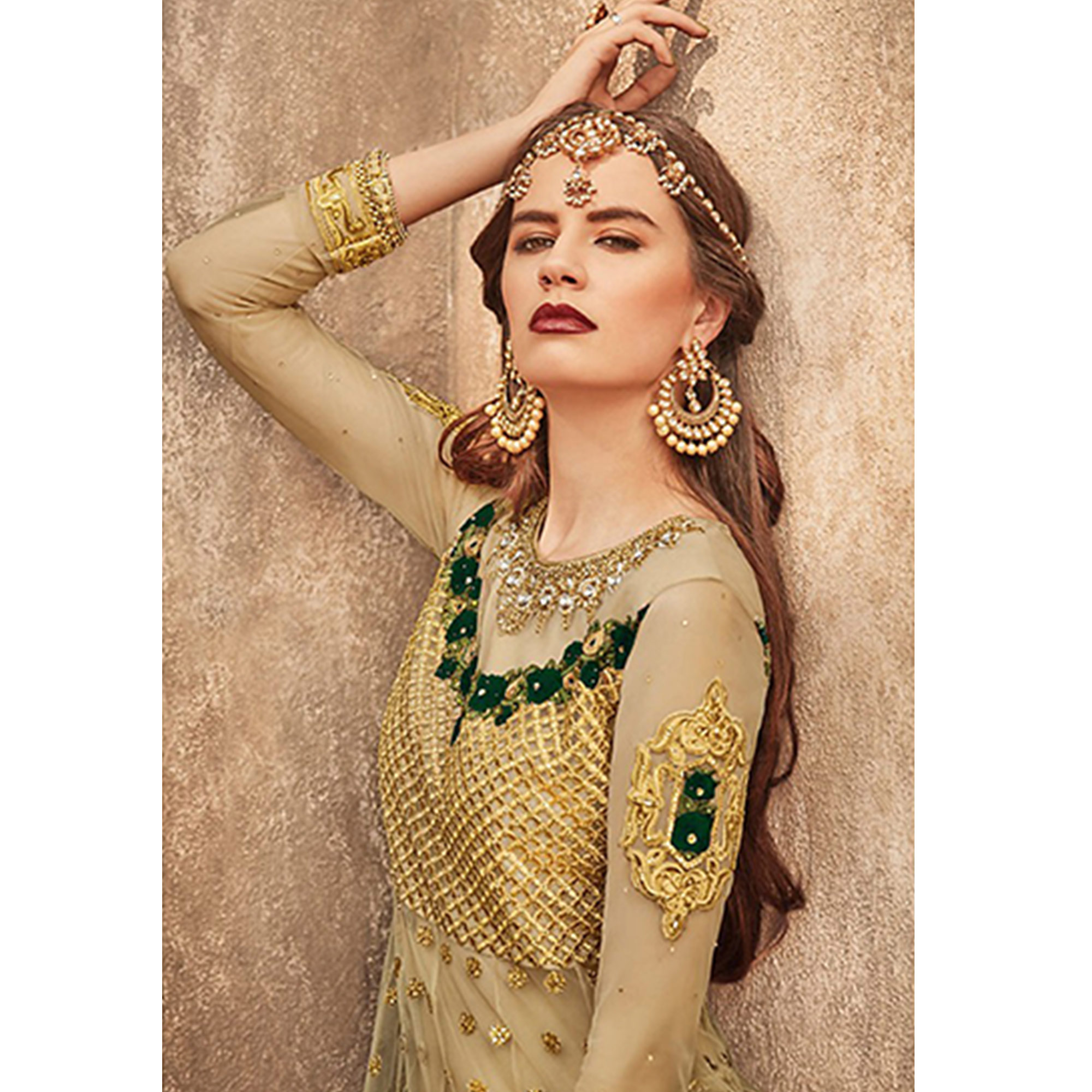 Opulent Golden-Green Colored Party Wear Embroidered Net Lehenga Choli