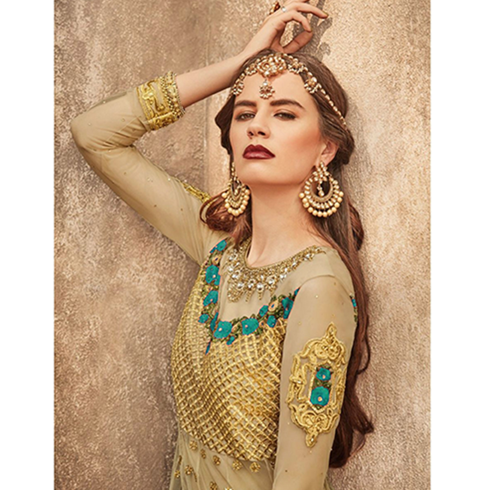Exceptional Golden-Turquoise Colored Party Wear Embroidered Net Lehenga Choli
