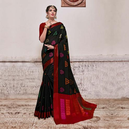 Intricate Black Colored Festive Wear Banarasi Cotton Silk Saree