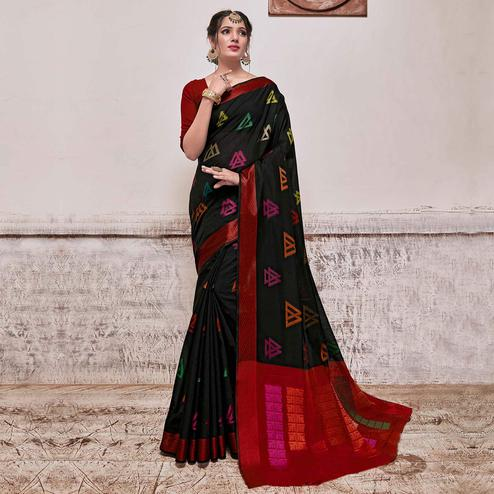 Arresting Black Colored Festive Wear Banarasi Cotton Silk Saree