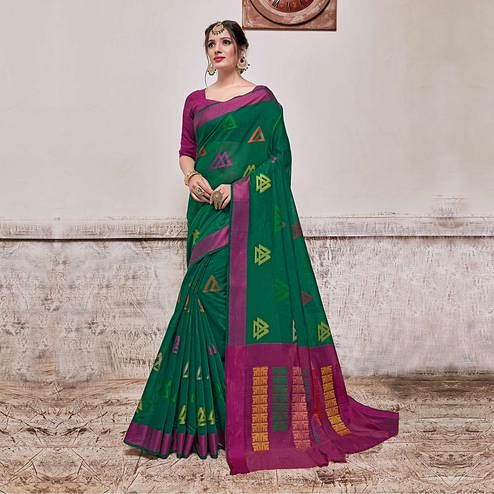 Desirable Turquoise Green Colored Festive Wear Banarasi Cotton Silk Saree