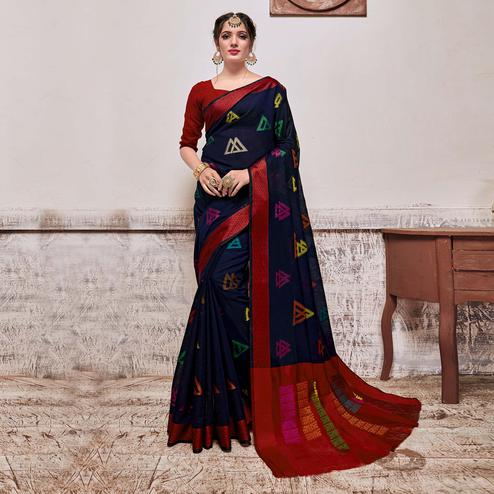 Exotic Navy Blue Colored Festive Wear Banarasi Cotton Silk Saree