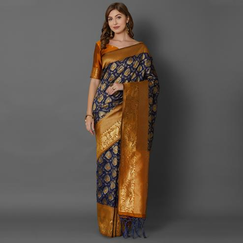 Sareemall Navy Blue Festive Wear Silk Blend Woven Border Saree With Unstitched Blouse