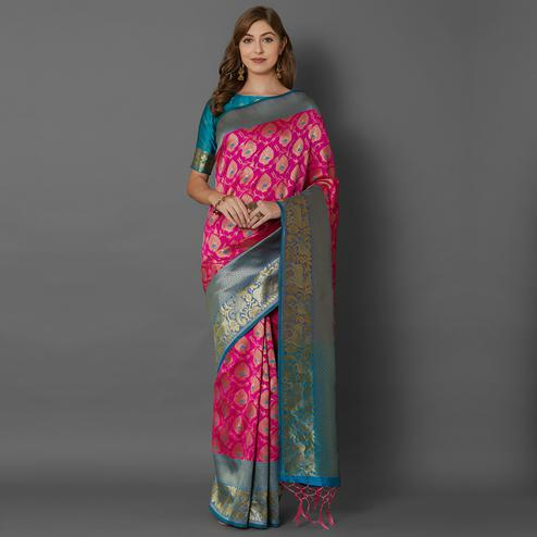 Sareemall Pink Festive Wear Silk Blend Woven Border Saree With Unstitched Blouse