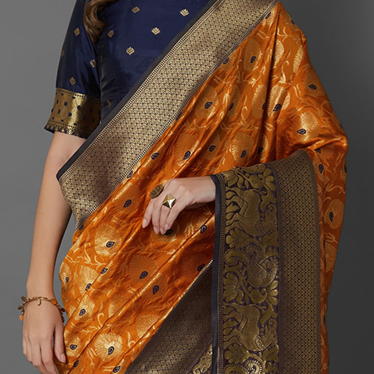 Sareemall Mustard Festive Wear Silk Blend Woven Border Saree With Unstitched Blouse