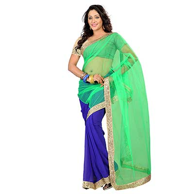 Green Net - Georgette Saree