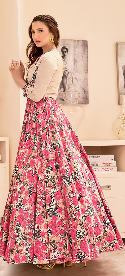 Cream - Pink Cotton Silk Gown