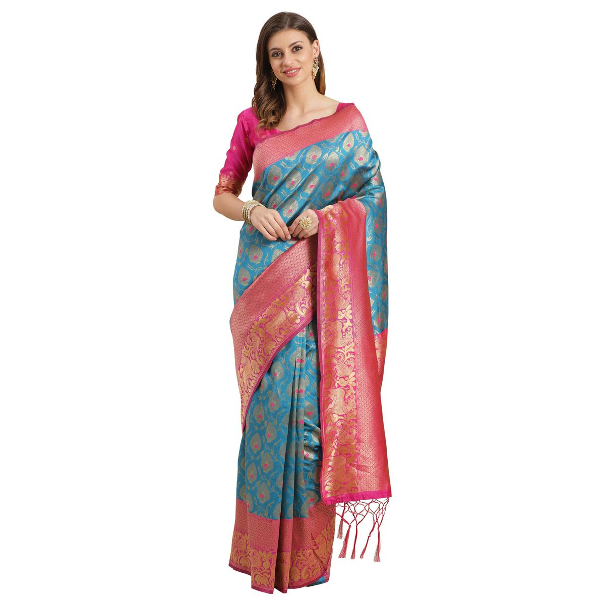 Sareemall Sky Blue Silk Blend Woven With Unstitched Blouse