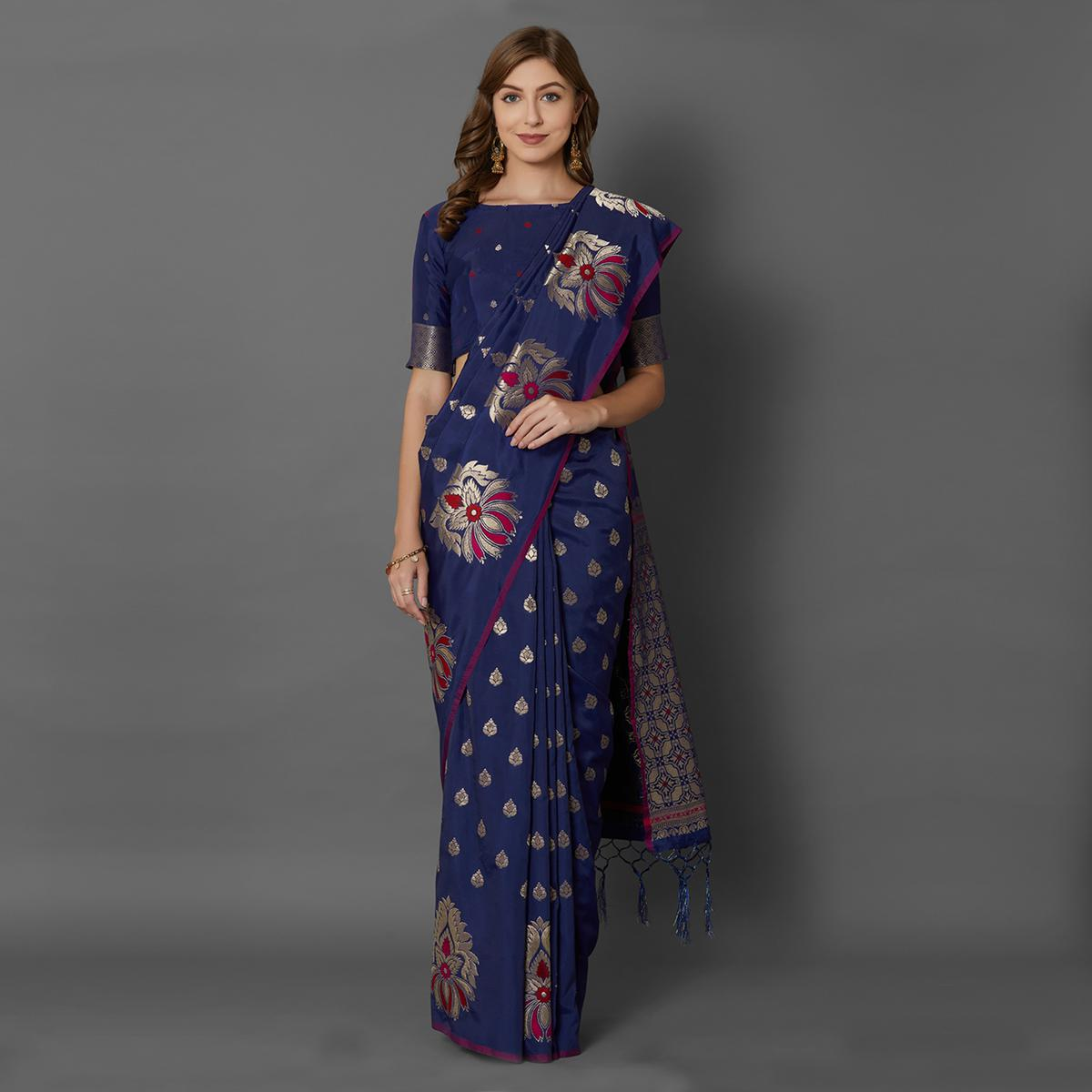 Sareemall Blue Festive Wear Silk Blend Woven Border Saree With Unstitched Blouse