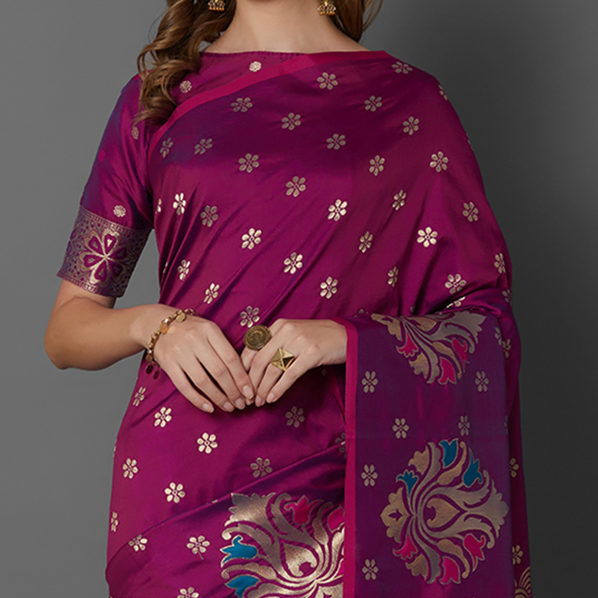 Sareemall Magenta Festive Wear Silk Blend Woven Border Saree With Unstitched Blouse