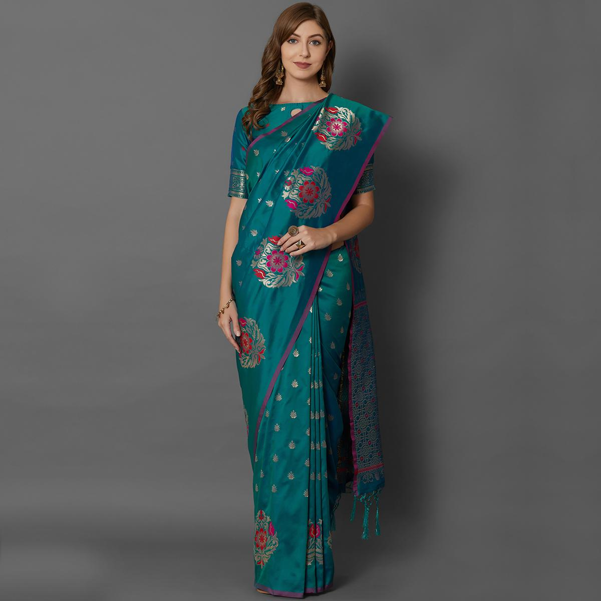 Sareemall Teal Green Festive Wear Silk Blend Woven Border Saree With Unstitched Blouse