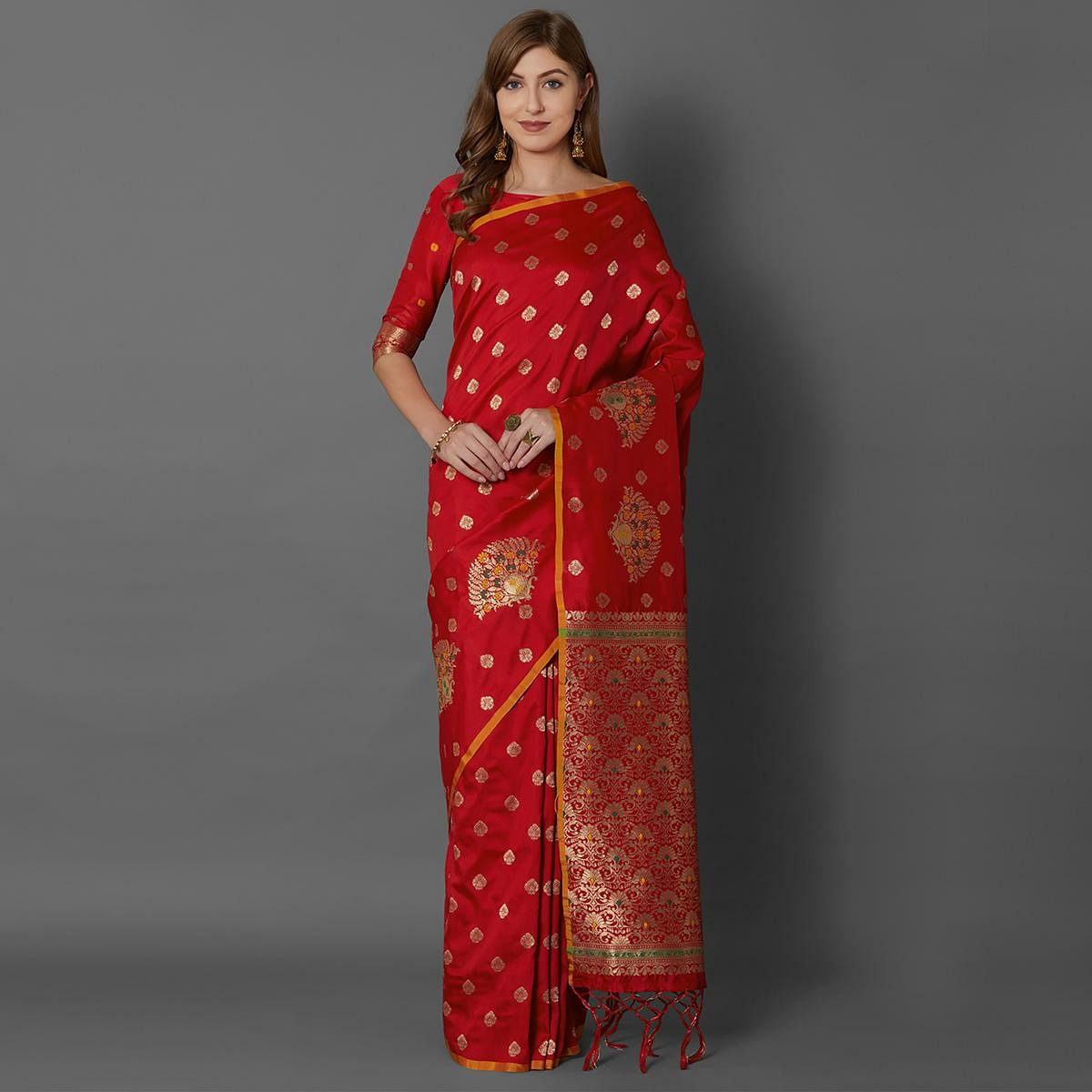 Sareemall Red Festive Wear Silk Blend Woven Border Saree With Unstitched Blouse