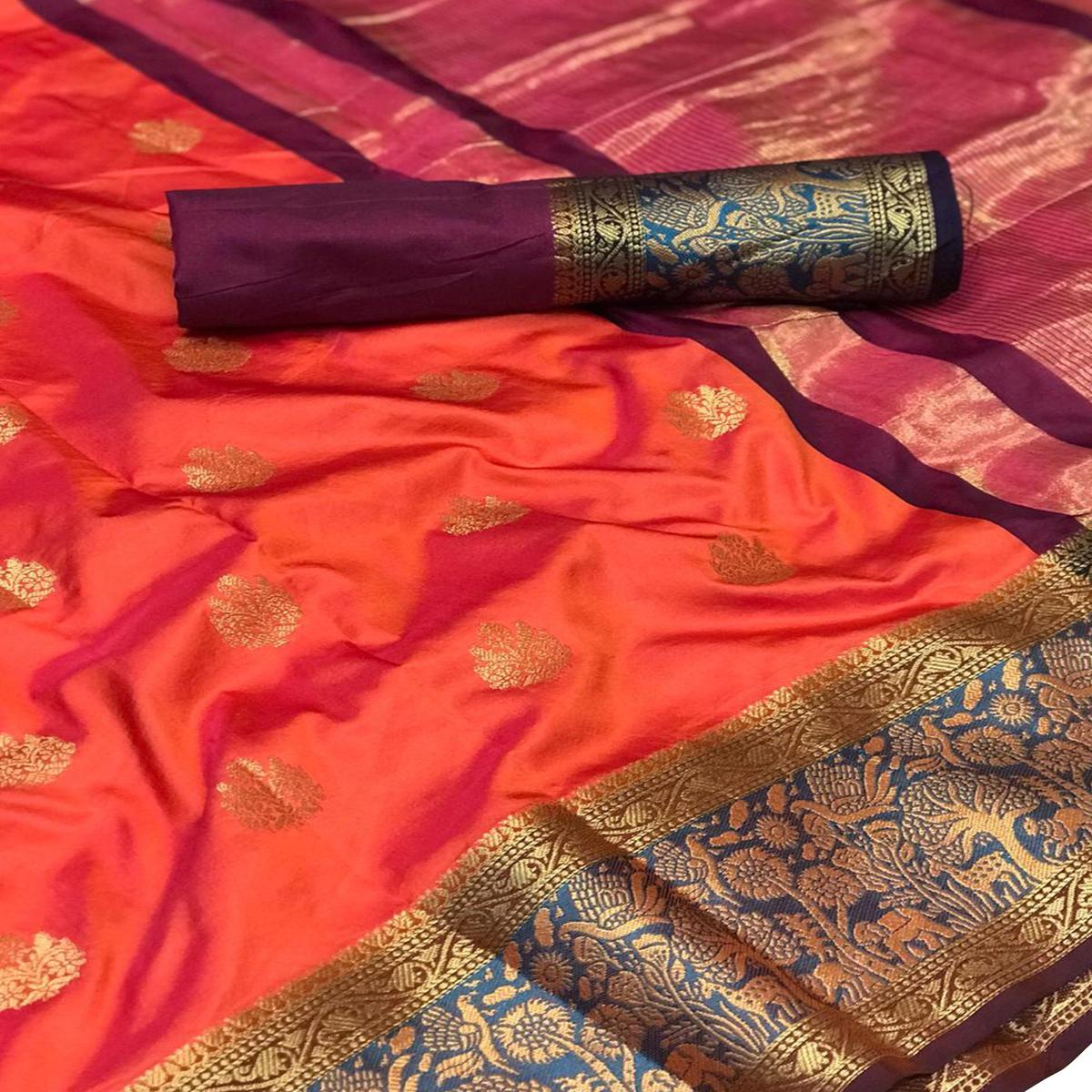 Trendy Orange-Wine Colored Festive Wear Woven Silk Saree