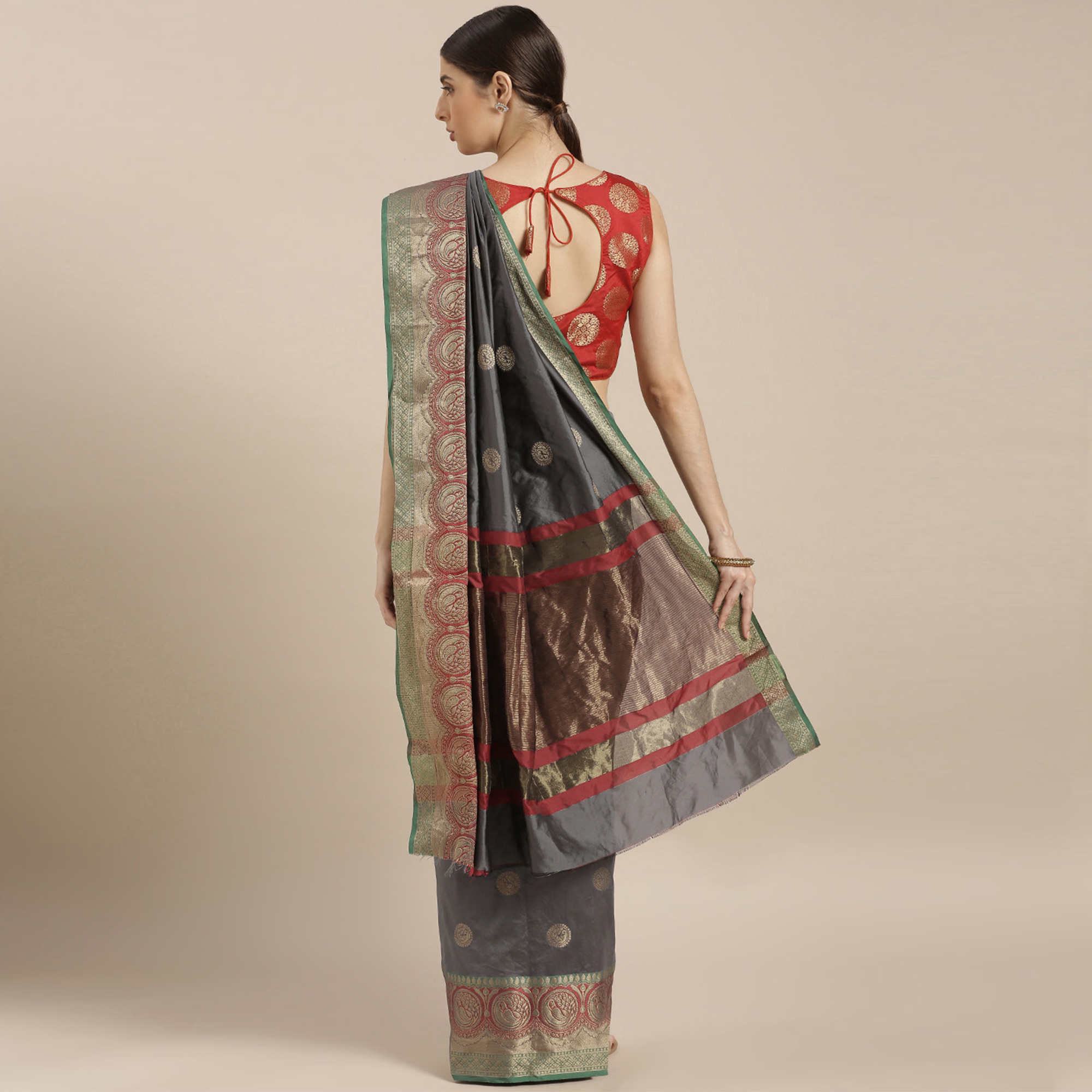 Elegant Grey-Red Colored Festive Wear Woven Silk Saree