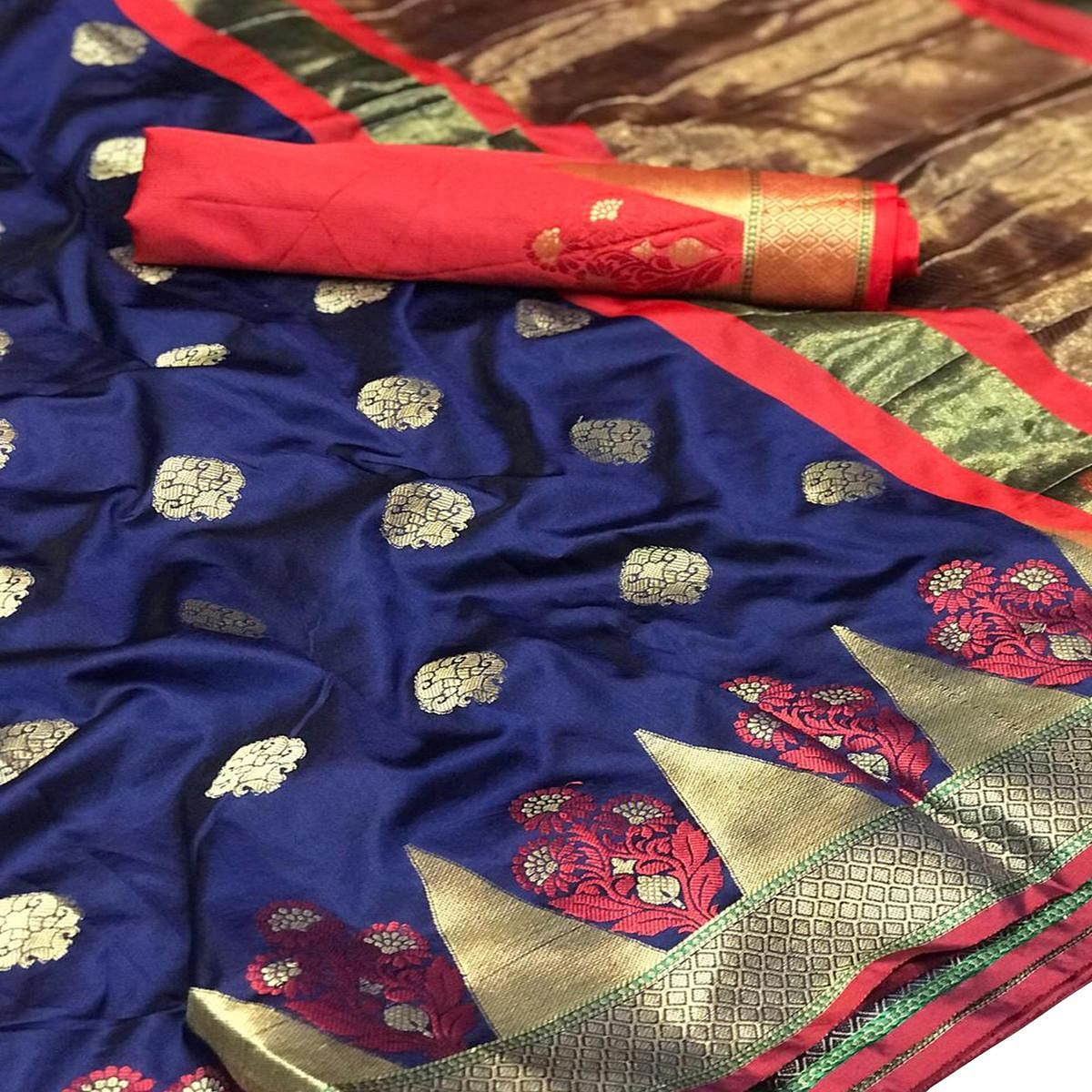 Pleasant Navy Blue-Red Colored Festive Wear Woven Silk Saree