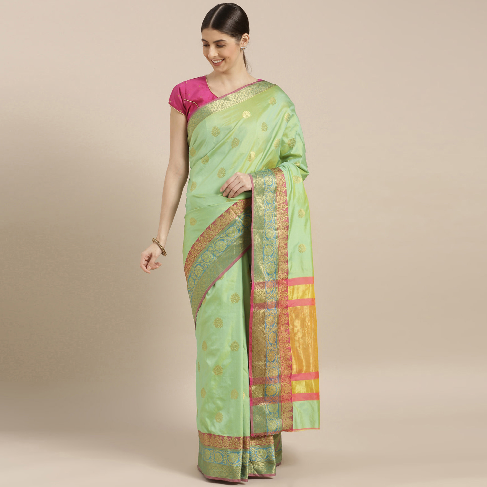 Energetic Green-Pink Colored Festive Wear Woven Silk Saree