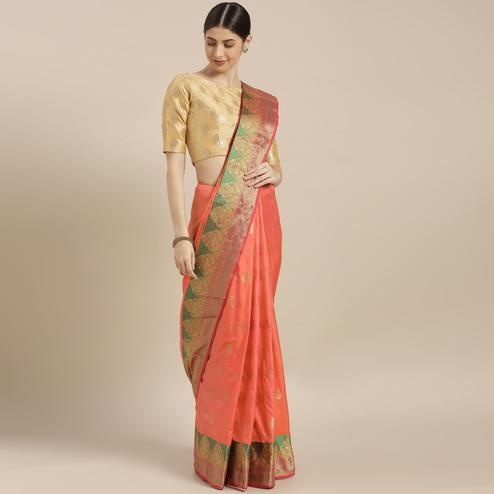 Glowing Orange-Pink Colored Festive Wear Woven Silk Saree