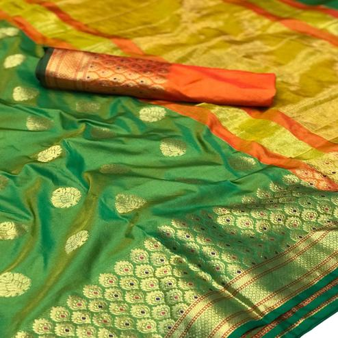 Exceptional Green-Orange Colored Festive Wear Woven Silk Saree