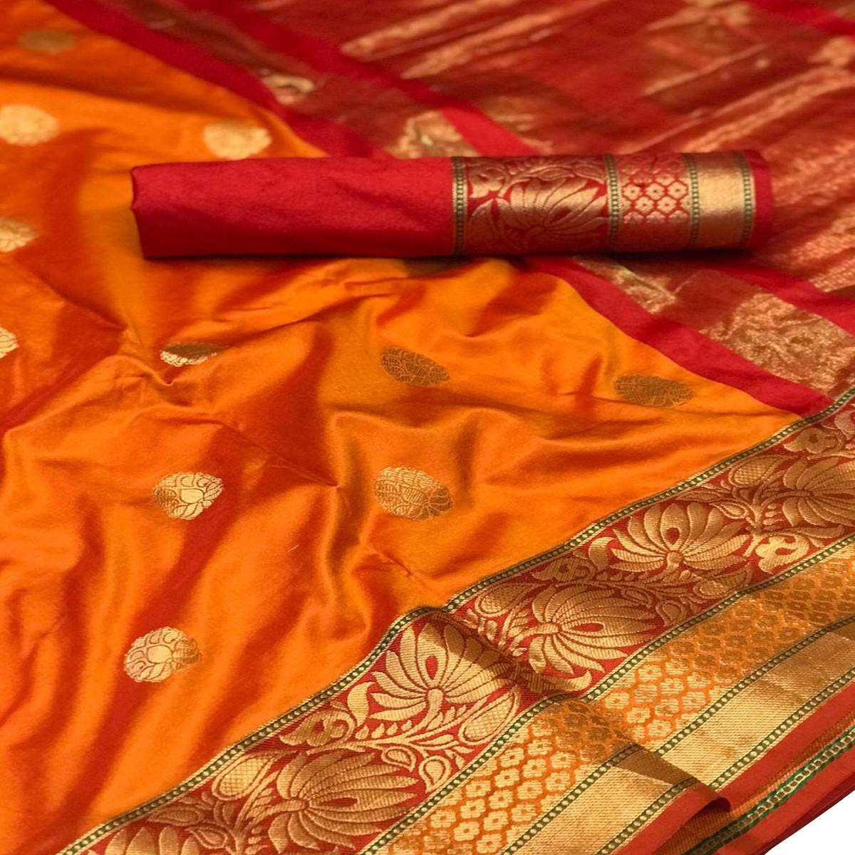 Mesmeric Orange-Red Colored Festive Wear Woven Silk Saree