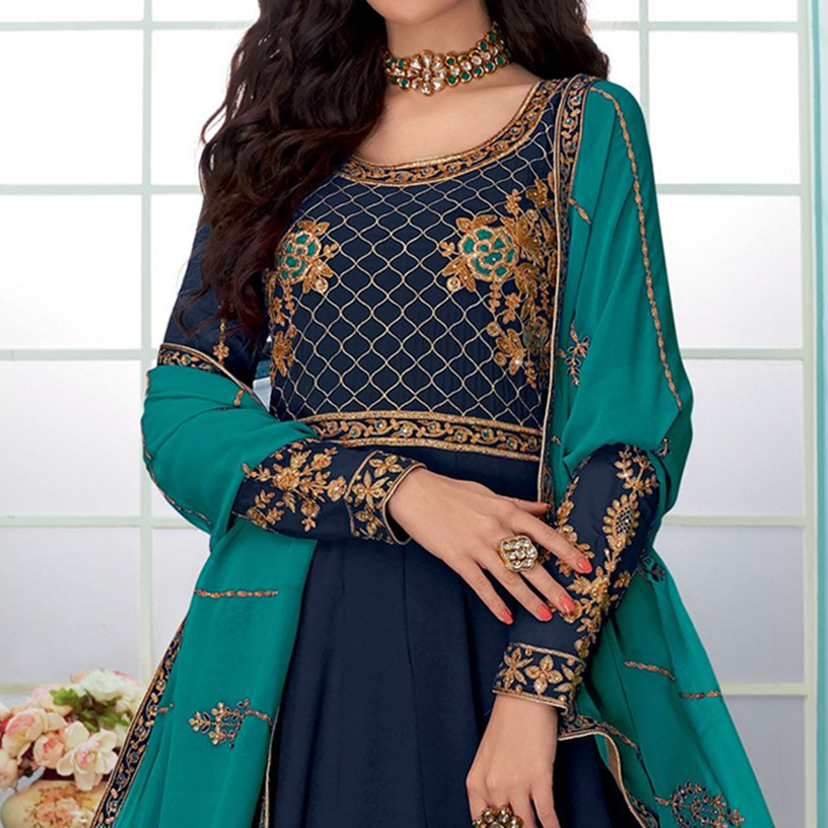 Prominent Navy Blue Colored Partywear Embroidered Georgette Abaya Style Anarkali Suit