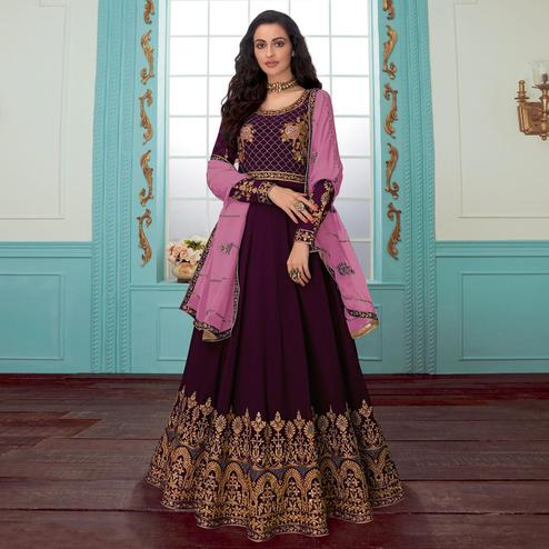 Appealing Purple Colored Partywear Embroidered Georgette Abaya Style Anarkali Suit